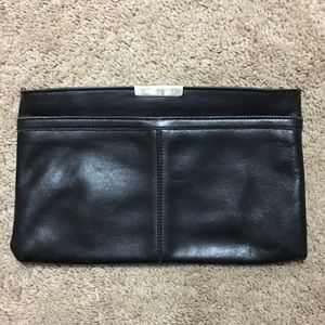 Vintage black leather clutch purse
